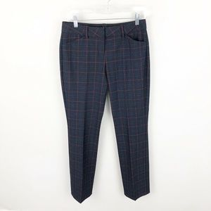 Express Editor Plaid Pants Navy Red Career Work 0